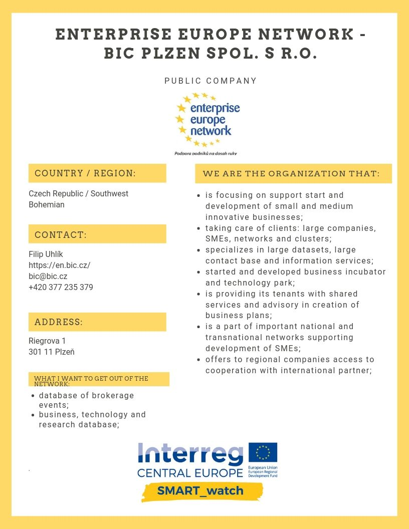 Enterprise Europe Network  BIC Plzen spol. s r.o.