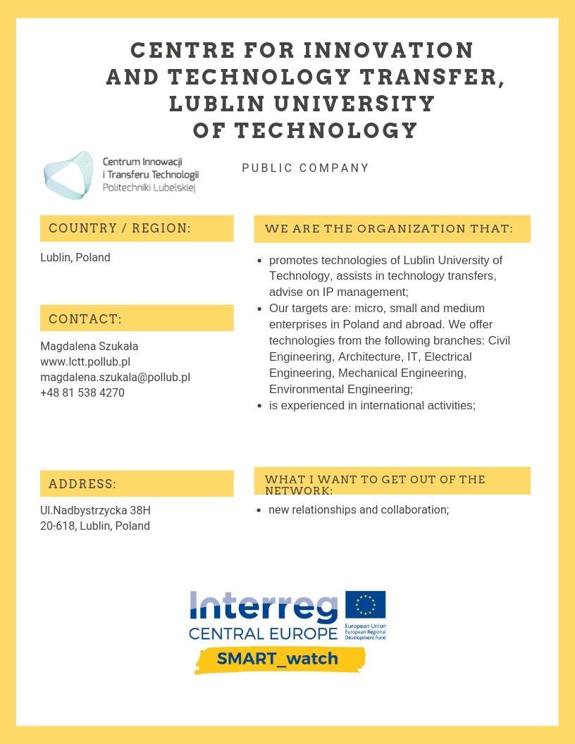 Centre for Innovation and Technology Transfer, Lublin University of Technology